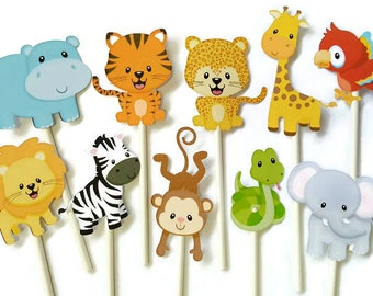 Safari cupcake toppers - set of 12 jungle cupcake toppers, jungle theme safari theme