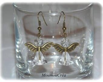 Earring bronze Angel and glass bead.