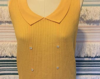 Vintage made in france yellow ribbed top