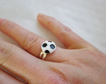 Football black and white polymer clay ring