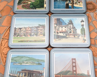 Vintage Pimpernel Coasters Scenes Of Francisco California Golden Gate Bridge Cable Car Fisherman's Wharf England Cork Back  Set Of 6  Box