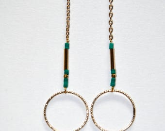 Gold-plated earrings, round link and micro Turquoises