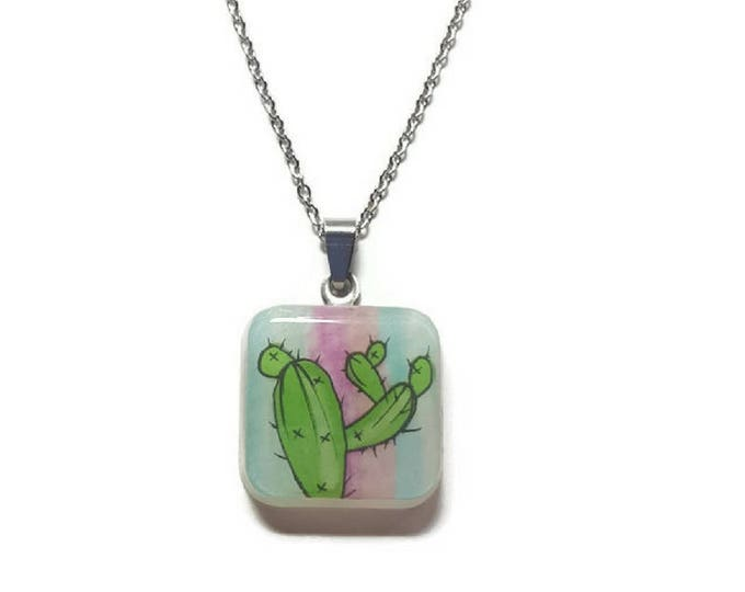 cute cactus jewelry, cactus pendant necklace, cactus accessories on stainless steel chain