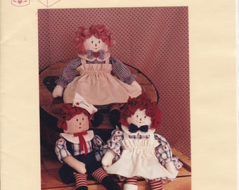 "FREE US SHIP Craft Sewing Pattern Twice as Nice Designs Raggedy Kids 147 Annie Andy 14"" Dolls Uncut 1991"