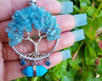Bright Blue Apatite Tree of Life Crystal Necklace