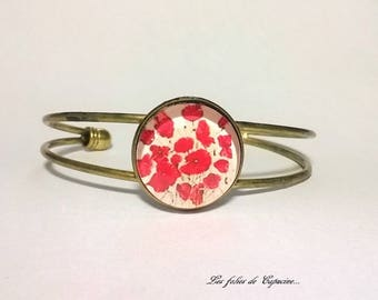 Cabochon Bangle • coquelicots• black red flower Cabochon Bangle
