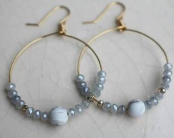 Handmade beaded hoops (Grey)