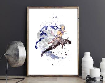 Edge Geraldine, Edge Geraldine poster, Final Fantasy IV, Watercolor Final Fantasy Wall Art, Video Game art, Nursery Print, Nursery Wall Art,