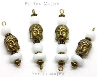 Set of 4 packages Buddha head bronze - 2 connectors and 2 charms