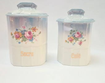 Sugar and porcelain coffee pots, canisters , jars , kitchen decoration, ceramic containers, pots, French country cottage