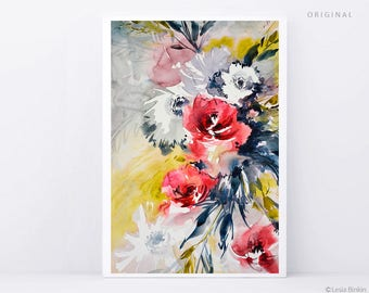 ORIGINAL watercolor, watercolor flowers painting, original abstract painting, red watercolor, red flower art, red flower artwork