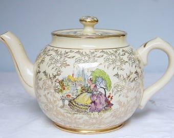 Vintage Sadler England Teapot, Crinoline Lady in Garden Decor, England