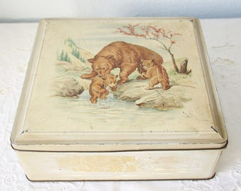 Vintage Biscuit Tin with Bear Decor, Bear with Cubs, van Melle, Holland