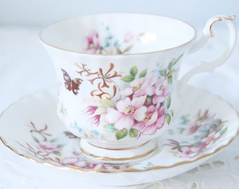 Vintage Royal Albert Bone China Cup and Saucer, Gentleman Size, Country Life Series 'Sweet Briar', England