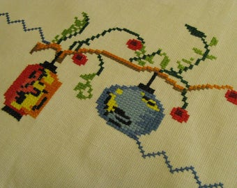 Asian Cross Stitch Table Runner~~Vintage Counted Cross Stitch Table Runner