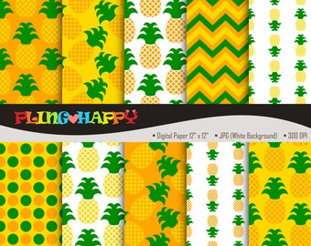 70% OFF Pineapple Orange Digital Papers, Pineapple Pattern Digital Papers Graphics, Personal & Small Commercial Use, Instant Download