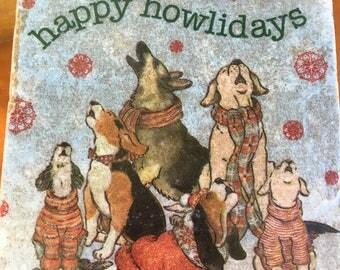 Coaster Set- Dog Coaster Set-Travertine tiles-Housewarming gift- Howling Dog Coaster set-Farmhouse Decor-Wedding gift
