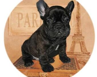 Paste cabochon 25 mm epoxy dog Bulldog black No. 1