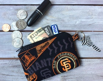 San Francisco Giants Zipper Pouch Wallet; SF Giants Pouch; MLB Pouch; Baseball Pouch; Coin Purse; ID Wallet; Credit Card Holder; I.D. Holder
