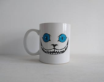 READY TO SHIP Hand Painted Cheshire Cat Mug. Mad Hatters Tea Essential!