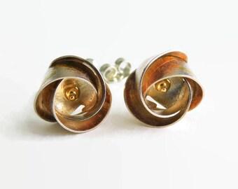 Sterling Silver 18K Gold Spiral Earrings ~ 14k Posts ~ Modern Sleek Design ~ Gift for Her