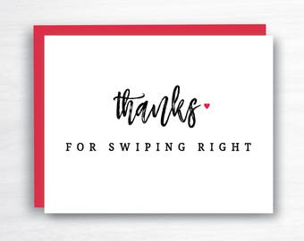Thanks for Swiping Right - Tinder Card - Valentine's Card - Valentine's Day Card -  Boyfriend Card - Girlfriend Card - Bumble Card