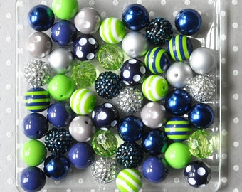 Seattle's favorite Seahawks bubblegum beads wholesale, 20mm Chunky beads for boys necklace diy kit, Navy blue and Lime green gumball beads