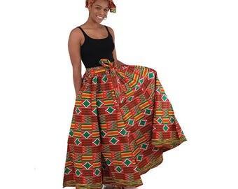 Kente Maxi Skirt: Red