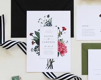 Modern Vintage Floral Wedding Invitation | Botanical Wedding Invitations, Modern Invitation, Vintage Floral Illustration Wedding Invitation