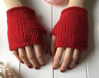 READY KNIT Red Fingerless mitts - 100% merino wool