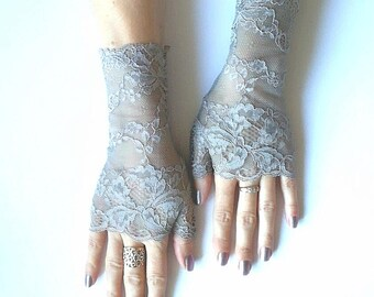 Grey Fingerless lace gloves/ lace gloves/Fingerless lace gloves/Grey fingerless