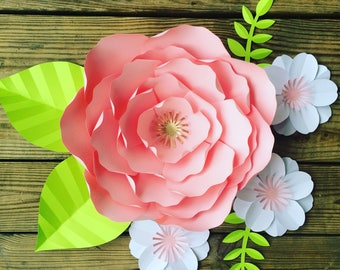 Mini set of paper flowers with leaves, large paper flower wall art, childrens room decor, nursery wall flowers, trendy room decor, wedding