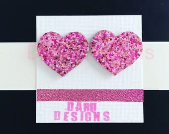 Glitter heart earrings, heart earrings , san valentines earrings