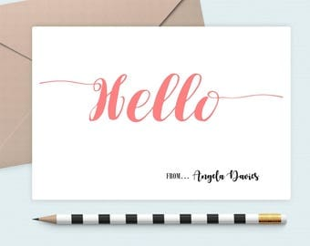 Hello stationery notecards/personalozed Note card/Monogram Note Card/custom gift, Personalized note card, shower gift, Fun note cards