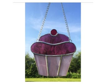 Stained glass pink cupcake suncatcher decoration