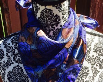 Vintage 90s Blue Rose Scarf Small