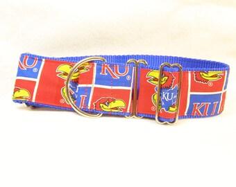 "KU on Blue Martingale Collar 2"" Wide"