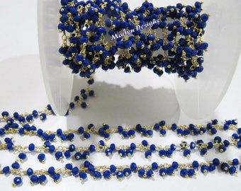 Beautiful Hydro Quartz Lapis Dangling Chain , Rondelle Faceted Beads Cluster Chain , 3mm Size Hydro Quartz Beaded Chain , Sold Per ONE FOOT.