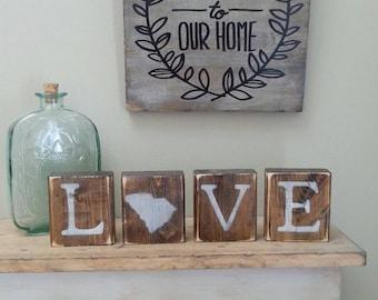 Rustic South Carolina Blocks, REVERSIBLE, Home South Carolina, South  Carolina Love, South