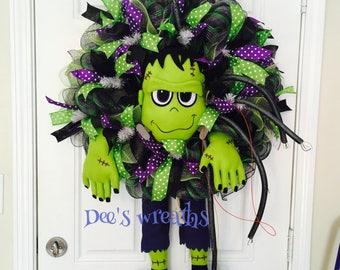 Halloween Frankenstein wreath with lights