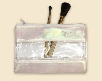 Clear Bag Organizer, Holographic Purse, Makeup Bag Organizer, Zipper Pouch Vinyl, Transparent Pouch, Vinyl Bag for Women, Clear Coin Purse