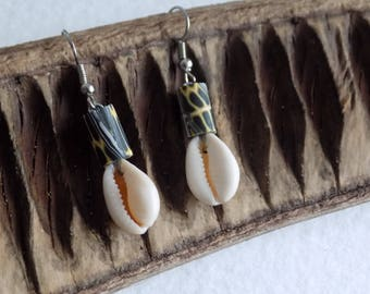 Yellow and Black Pearl Earring and a cowrie