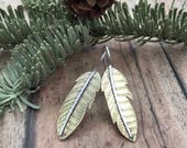 Feather Earrings, Hand Cut and Etched, Mixed Metal Boho Feather Earrings