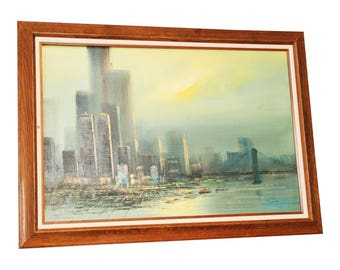Vintage New York City IMPRESSIONIST PAINTING Pre-9/11 oil framed signed skyline cityscape wall art mid century 70s blue nyc