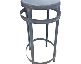 Vintage INDUSTRIAL STOOL steel metal chair seat steampunk factory machine age loft gray art seating bar adjustable hallowell drafting steel