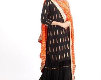 Black Kurti with Sharara and Contrast Dupatta