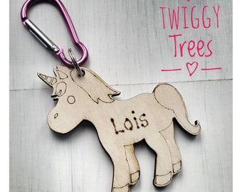 Unicorn Bag Charms school book backpack personalised name keyring keychain clip wooden engraved gift present friend daughter