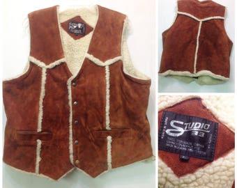 Heavy brown suede vintage winter,cowboy,hippie vest