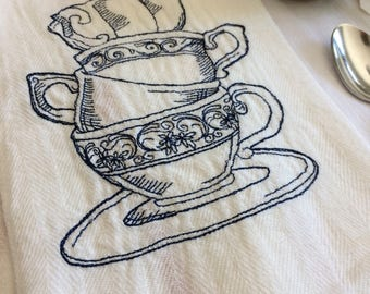 Tea Drinker Kitchen Towel by droolist, tea themes gift, tea lover, wedding shower embroidered towel, gift towel, stacked tea cups embroidery