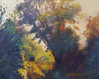 David Rylance (St Ives School) Original Oil Painting - Landscape With Trees